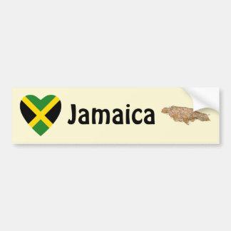 Corazón de la bandera de Jamaica + Pegatina para Pegatina Para Auto