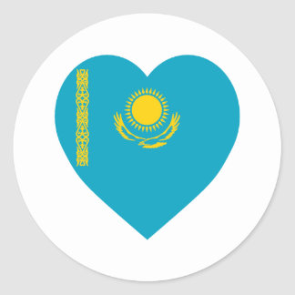 Corazón de la bandera de Kazajistán Pegatina Redonda