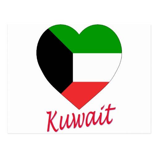 Corazón de la bandera de Kuwait Postales