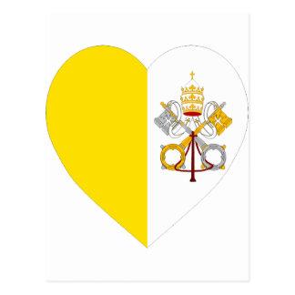 Corazón de la bandera de la Ciudad del Vaticano Postales