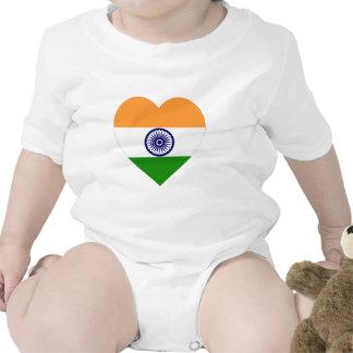 Corazón de la bandera de la India Traje De Bebé