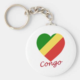 Corazón de la bandera de la república de Congo Llaveros Personalizados