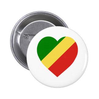 Corazón de la bandera de la república de Congo Pin Redondo 5 Cm