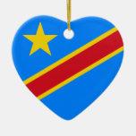 Corazón de la bandera de la república Democratic d Ornamentos Para Reyes Magos