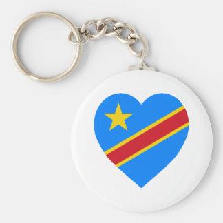 Corazón de la bandera de la república Democratic d Llavero Personalizado