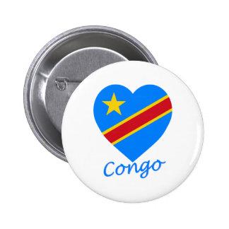 Corazón de la bandera de la república Democratic d Pin Redondo 5 Cm