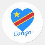 Corazón de la bandera de la república Democratic Pegatinas Redondas