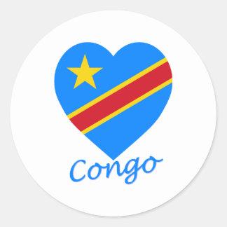 Corazón de la bandera de la república Democratic Pegatina Redonda