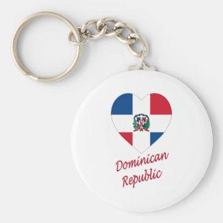 Corazón de la bandera de la República Dominicana Llavero Redondo Tipo Pin