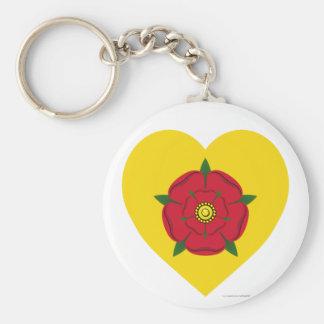 Corazón de la bandera de Lancashire Llavero Redondo Tipo Pin