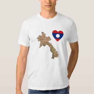 Corazón de la bandera de Laos y camiseta del mapa Playeras