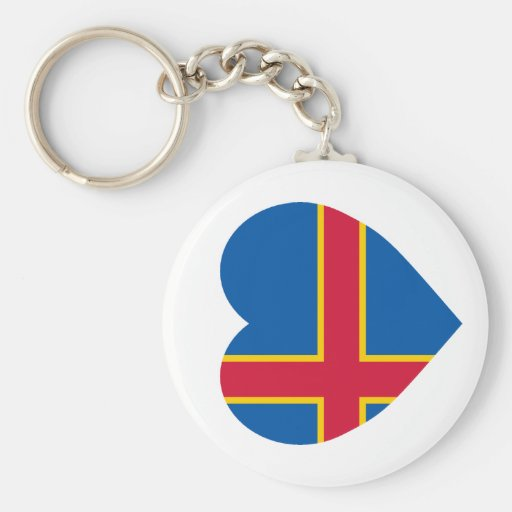 Corazón de la bandera de las islas de Aland Llaveros