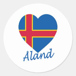 Corazón de la bandera de las islas de Aland Pegatina Redonda