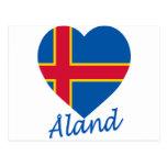 Corazón de la bandera de las islas de Aland Tarjeta Postal