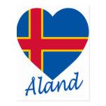 Corazón de la bandera de las islas de Aland Tarjetas Postales