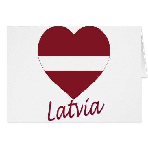 Corazón de la bandera de Letonia Tarjeta De Felicitación
