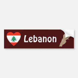 Corazón de la bandera de Líbano + Pegatina para el Pegatina Para Auto