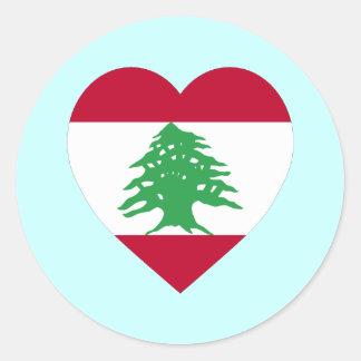 Corazón de la bandera de Líbano Pegatina Redonda