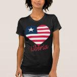 Corazón de la bandera de Liberia Camisetas