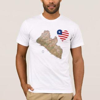 Corazón de la bandera de Liberia y camiseta del
