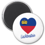 Corazón de la bandera de Liechtenstein Imán