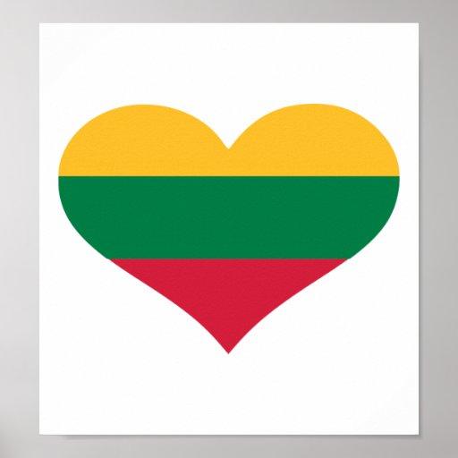 Corazón de la bandera de Lituania Posters