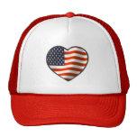 Corazón de la bandera de los E.E.U.U. Gorras De Camionero