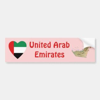 Corazón de la bandera de los UAE + Pegatina para e Etiqueta De Parachoque