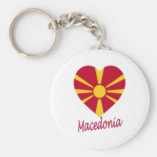 Corazón de la bandera de Macedonia Llaveros