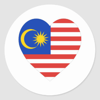 Corazón de la bandera de Malasia Pegatinas Redondas