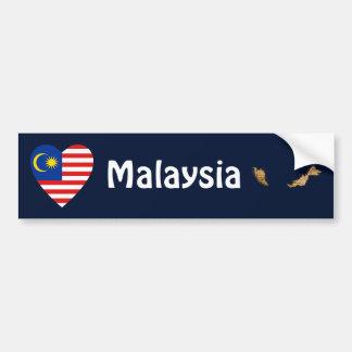 Corazón de la bandera de Malasia + Pegatina para e Etiqueta De Parachoque