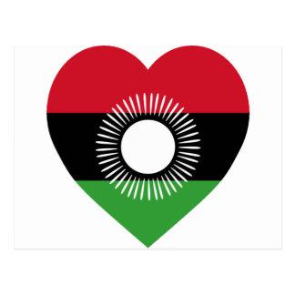 Corazón de la bandera de Malawi Tarjetas Postales