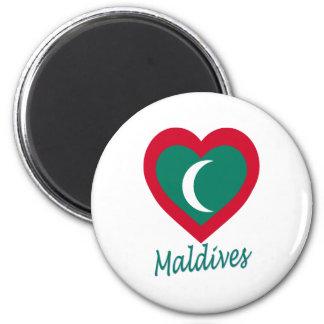 Corazón de la bandera de Maldivas Imanes De Nevera