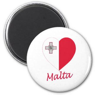 Corazón de la bandera de Malta Imán Redondo 5 Cm
