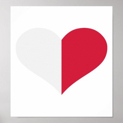 Corazón de la bandera de Malta Poster