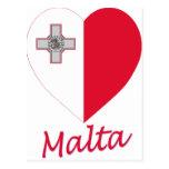 Corazón de la bandera de Malta Tarjetas Postales
