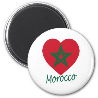 Corazón de la bandera de Marruecos Imán Redondo 5 Cm