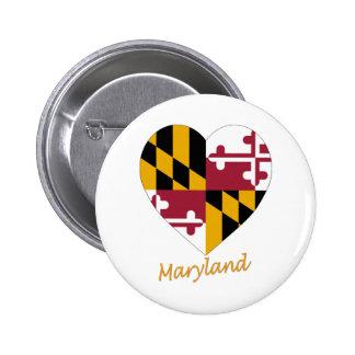 Corazón de la bandera de Maryland Pin Redondo De 2 Pulgadas