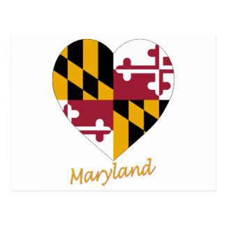 Corazón de la bandera de Maryland Tarjetas Postales