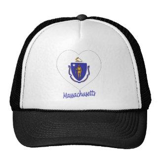Corazón de la bandera de Massachusetts Gorros Bordados