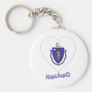 Corazón de la bandera de Massachusetts Llavero Personalizado