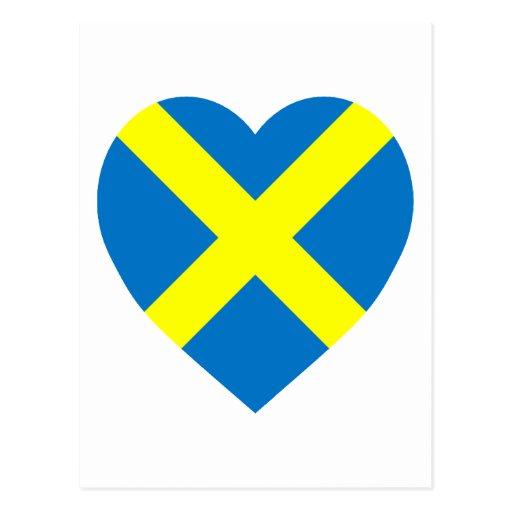 Corazón de la bandera de Mercia Tarjetas Postales