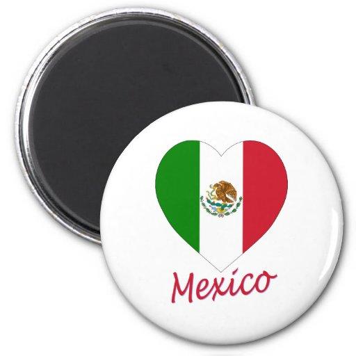 Corazón de la bandera de México Imán Para Frigorifico