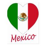 Corazón de la bandera de México Tarjetas Postales