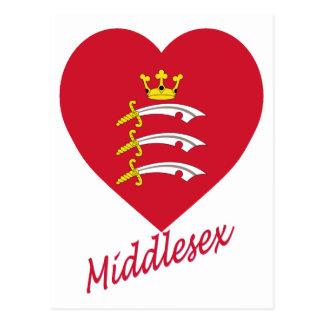 Corazón de la bandera de Middlesex con nombre Tarjetas Postales