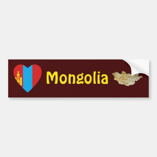 Corazón de la bandera de Mongolia + Pegatina para Pegatina Para Auto