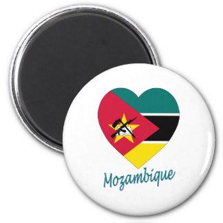 Corazón de la bandera de Mozambique Imán Redondo 5 Cm