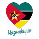 Corazón de la bandera de Mozambique Postales