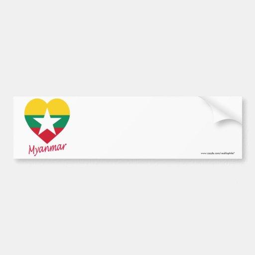 Corazón de la bandera de Myanmar con nombre Pegatina Para Auto