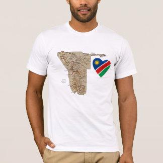 Corazón de la bandera de Namibia y camiseta del